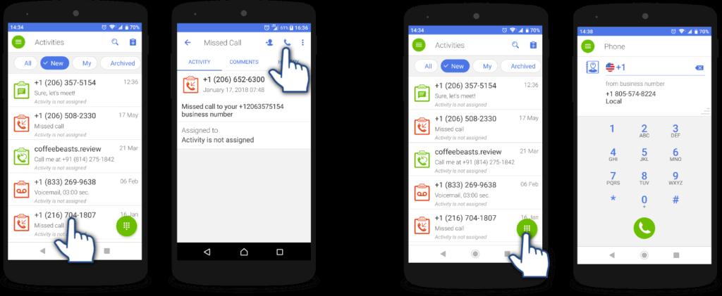 how to make a call via app